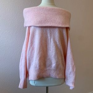 H&M Pink Off the Shoulder Sweater